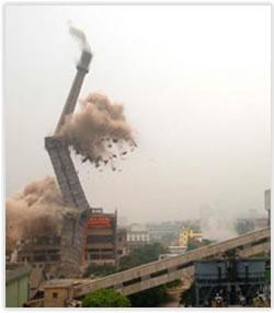 西联供热公司烟囱拆除工程