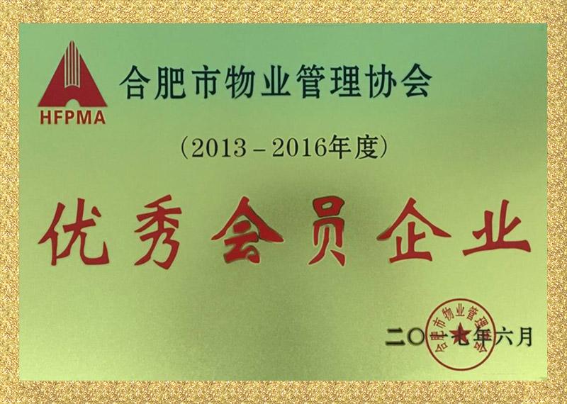 优秀会员企业证书