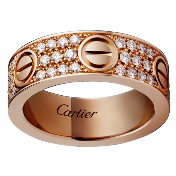 【18k真金真钻定制】卡地亚LOVE戒指真爱螺丝钉满钻宽版男女士戒指