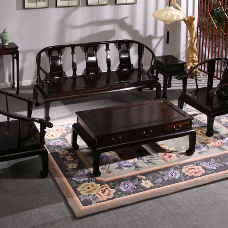 紫光檀圈椅沙发五件套红木家具