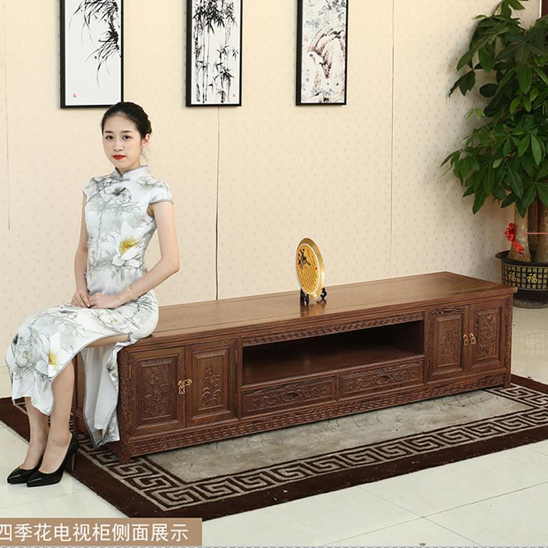 鸡翅木红木家具中式实木电视柜组